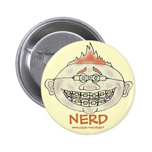 Funny nerd cartoon art button design