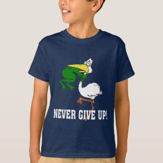 Funny Never Give Up Pelican and Frog T-Shirt