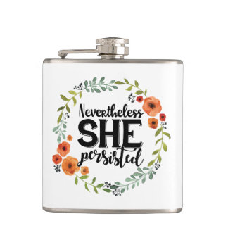 Funny Nevertheless she persisted cute vintage meme Hip Flask