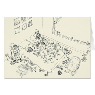 Funny New Baby Parent Mess Line Drawing from Above Card