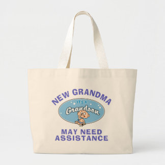 Funny New Grandma New Grandson T-Shirts Jumbo Tote Bag