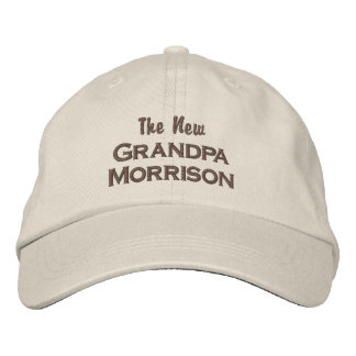 Funny New Grandpa New Baby Custom Last Name Embroidered Hats