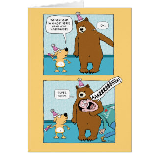 Funny New Year's Card: Bear Noisemaker Card