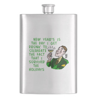 Funny New Years Retro Drinking Man with Champagne Flasks