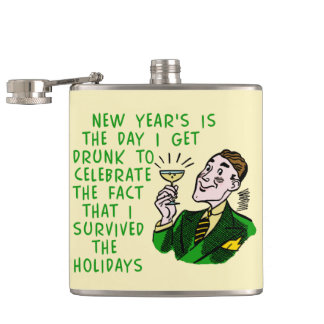 Funny New Years Retro Drinking Man with Champagne Hip Flasks