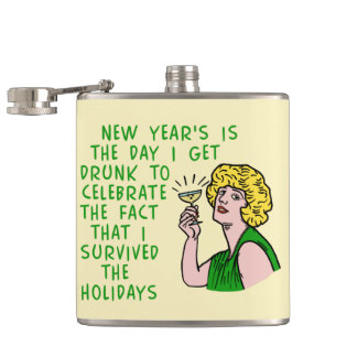 Funny New Years Retro Drinking Woman Champagne Flask