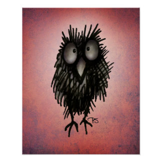 Funny Night Owl Art on Pink Poster