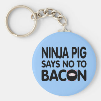Funny Ninja Pig Says No to Bacon Basic Round Button Key Ring