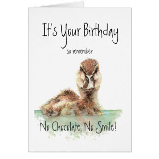 Funny, No Chocolate, No Smile, Angry Duck, Bird Card