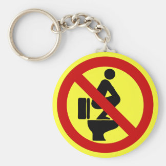 Funny NO Feet on the Seat ⚠ Thai Sign ⚠ Basic Round Button Key Ring