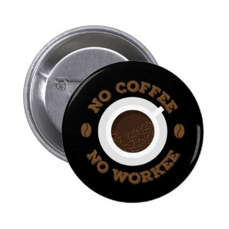 Funny No Morning Coffee No Work  Caffeine Lovers 6 Cm Round Badge