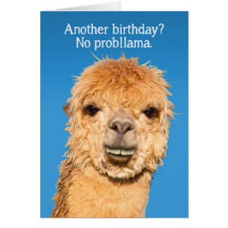 Funny No Problama Llama with Alpaca Lips Card