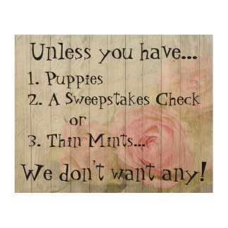 Funny Not Welcome Puppies Check Mints Porch Plaque Wood Wall Art