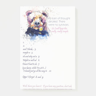Funny Notepad of a Bear Painting and list