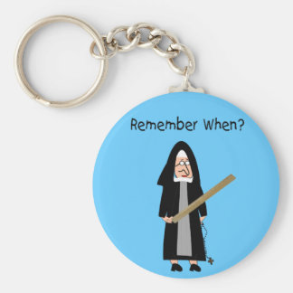 "Funny Nun Cards :Nuns Carried Rulers"" Key Ring"
