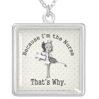 Funny Nurse Cartoon With Nursing Slogan Silver Plated Necklace
