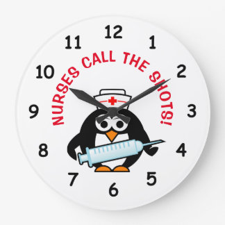 Funny nursing wall clock with cute penguin nurse
