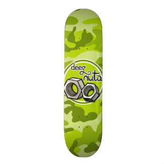 Funny Nuts; bright green camo, camouflage Skateboard Deck