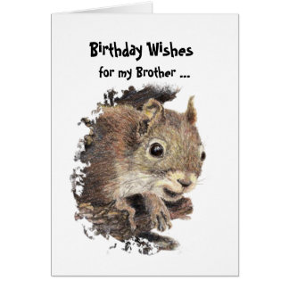 Funny, Nutty Brother Birthday Squirrel Card