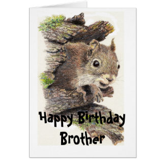 Funny, Nutty Brother Birthday Squirrel Card