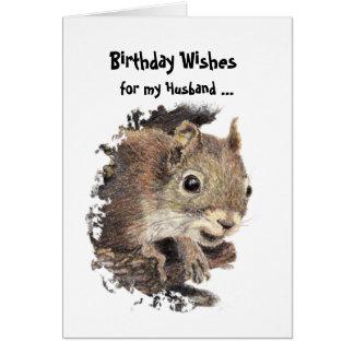 Funny, Nutty Husband Birthday Squirrel Card