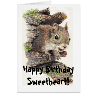 Funny, Nutty Sweetheart Birthday Squirrel Card