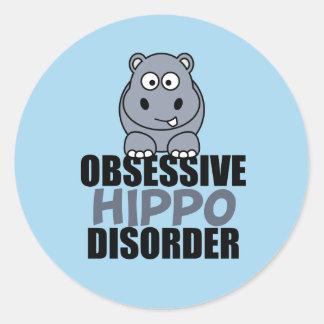Funny Obsessive Hippo Disorder Classic Round Sticker