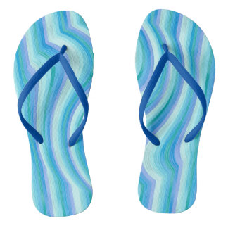 Funny ocean waves stripes thongs