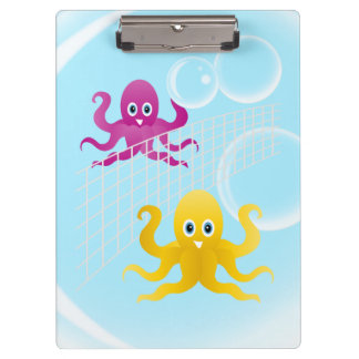 Funny octopies playing volleyball clipboards