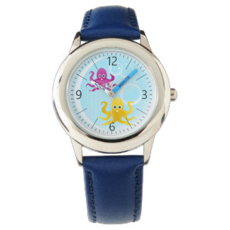 Funny octopies playing volleyball wristwatch