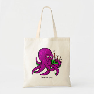 Funny Octopus Bagpipes Illustration Budget Tote Bag