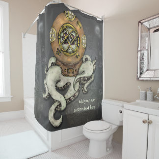 Funny Octopus Diver Sketch Personalized Shower Curtain
