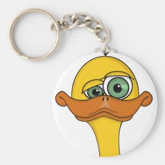 Funny Odd Duck Cartoon Basic Round Button Key Ring