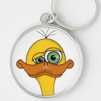 Funny Odd Duck Cartoon Silver-Colored Round Key Ring