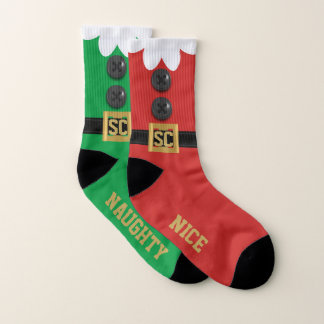 Funny Odd Naughty Nice Christmas Elf Socks 1