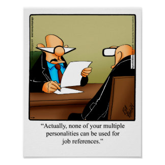 "Funny Office Humor Poster ""Job References"""