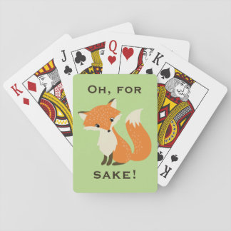 Funny Oh, For Fox Sake Green Playing Cards