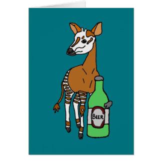 Funny Okapi Drinking Beer Art Card