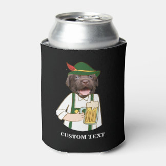 Funny Oktoberfest Black Lab Dog Beer Lover Custom Can Cooler