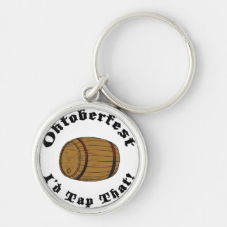 Funny Oktoberfest I'd Tap That Silver-Colored Round Key Ring