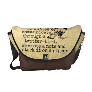Funny Old Age Twitter Bird Pigeon Messenger Bag