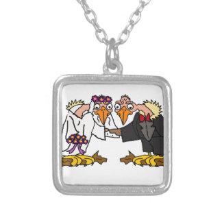 Funny Old Buzzard Wedding Cartoon Art Silver Plated Necklace