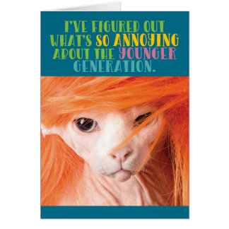 Funny Old Cat Annoying Younger Generation Card
