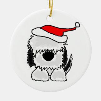Funny Old English Sheepdog in Santa Hat Ceramic Ornament