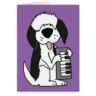 Funny Old English Sheepdog Playing Keyboard Card
