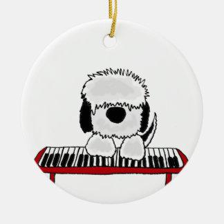 Funny Old English Sheepdog Playing Keyboard Ceramic Ornament