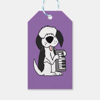 Funny Old English Sheepdog Playing Keyboard Gift Tags