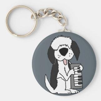 Funny Old English Sheepdog Playing Keyboard Key Ring