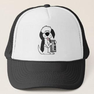 Funny Old English Sheepdog Playing Keyboard Trucker Hat