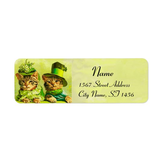 FUNNY OLD FASHION ST PATRICK'S DAY CATS RETURN ADDRESS LABEL